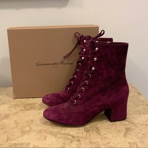 New designer Gianvito Rossi leather lace up boots